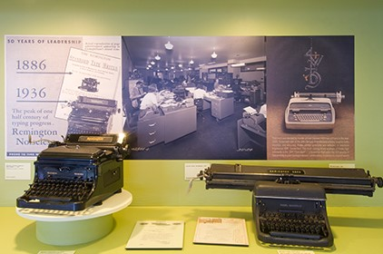 photo of vintage office equipment exhibit from the Atwater Kent Museum