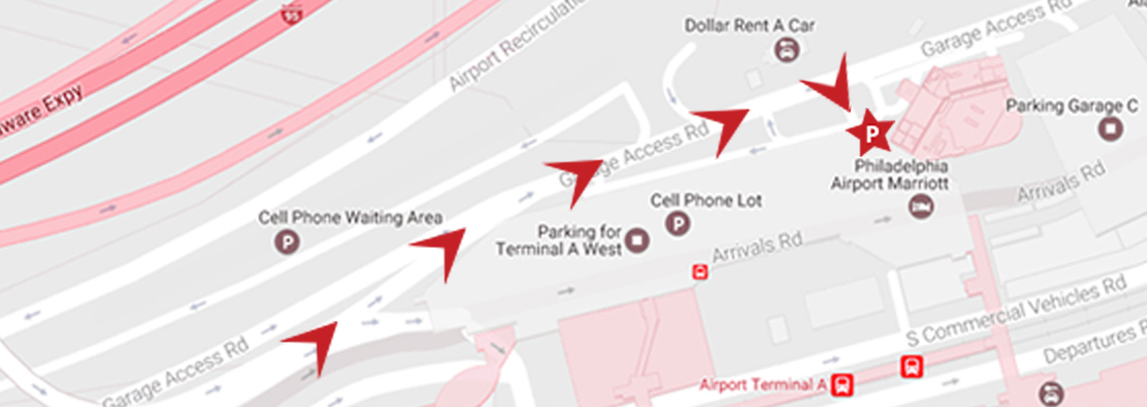map of American Airlines Aviator parking lot