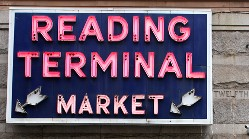 a sign for the Reading Terminal Market