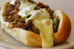 a detailed photo of a delicious Philly cheesesteak. Yummy!