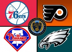 a photo of the logos for the major league Philly sports team
